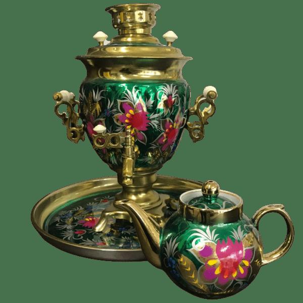Набор самовар с чайником роспись луг