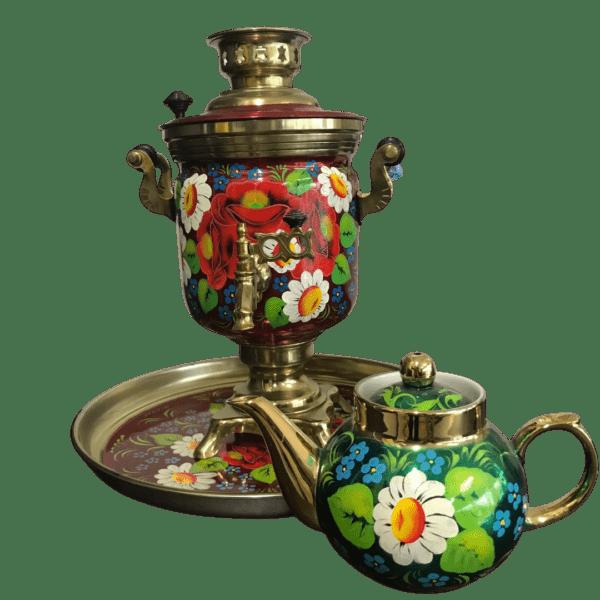 Набор самовар с чайником роспись цветы