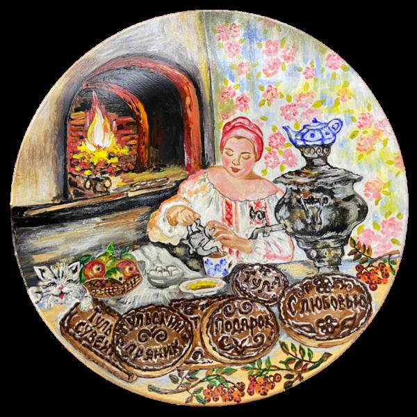 Тарелка с ручной росписью боярыня и очаг