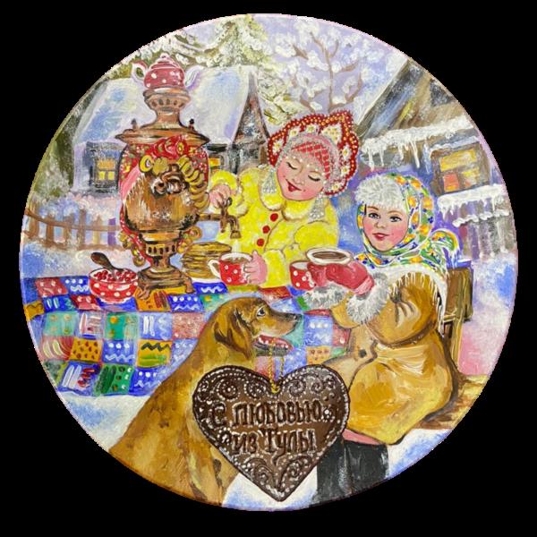Тарелка ручная роспись собака с пряником