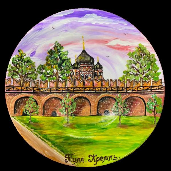 Тарелка с ручной росписью Кремлёвская стена