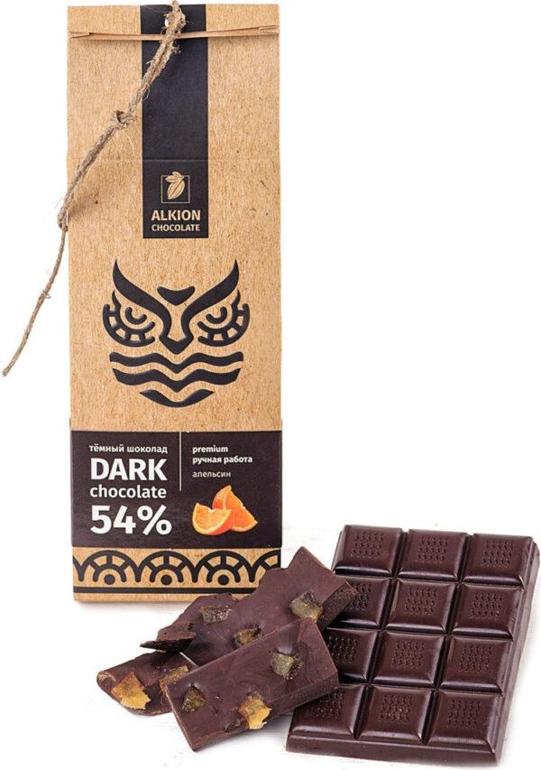 Шоколад темный 54% ALKION CHOCOLATE с кусочками апельсина, 100 г.