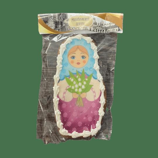 Пряник имбирный матрёшка с ягодами с цветами