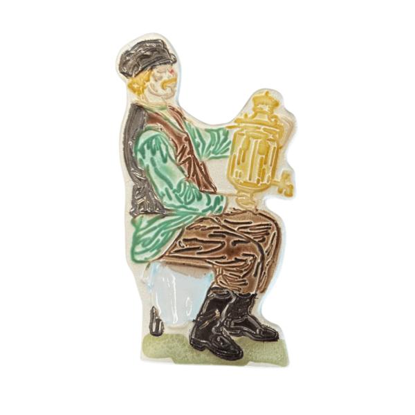 керамический магнит мужской традиционный костюм и самовар