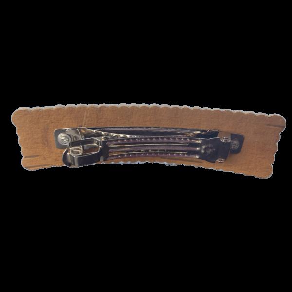 Заколка из бересты с узорами вид сзади