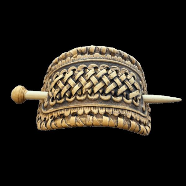 Заколка с плетением из бересты для волос