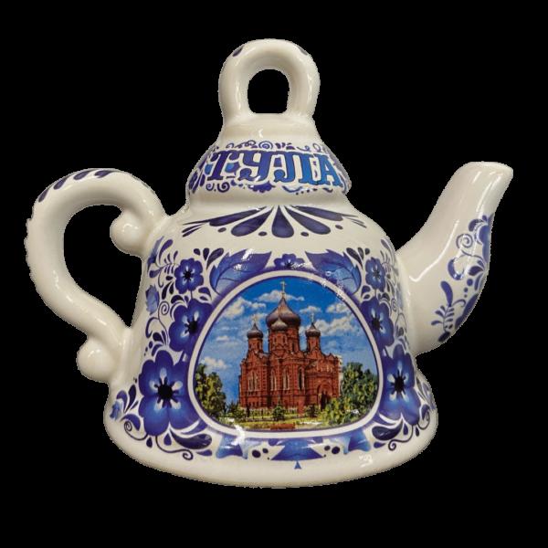 колокольчик фарфоровый чайник с изображением успенского собора в Туле